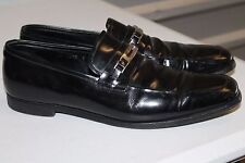 PRADA MENS BLACK PATENT LEATHER APRON TOE HORSE BIT LOAFERS SIZE 9 M ITALY 2083