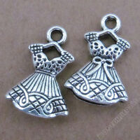 10pc Retro Tibetan Silver Charms Skirt Bowknot Accessories Bead Findings PJ0176