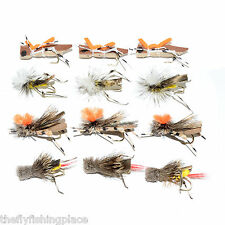 Trout Fly Assortment - Four Best Grasshopper Dry Flies Collection 1 Dozen Flies