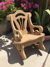 Child's Handcrafted MDF Wood Rocking Chair. Happy Time Rocker. No Tools or Glue