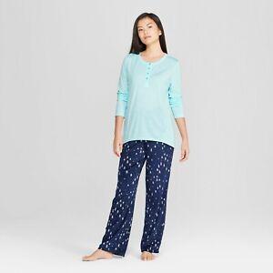 Gilligan & O'Malley Women's Cozy Fleece Tree Print Pajama Set blue size S