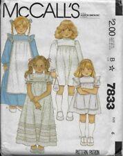 🌸Vintage McCall's Sewing Pattern 7833 Girls DRESS 2 Lengths sz 6 Prairie, Apron