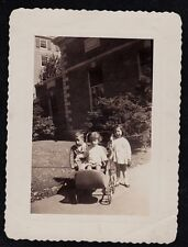 Antique Vintage Photograph Two Little Children w/ Little Baby in Wicker Carriage