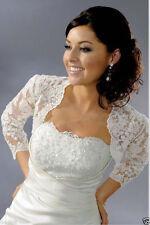 Langarm Spitze Braut Bolero Jacke  Zum Hochzeit Brautkleid  S M L XL 2XL 3XL