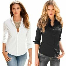 Women Long Sleeve Office Work Button Down Shirt Blouses Top T-shirt Solid Blouse