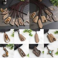 National Style Long Handmade Wooden Pendant Sweater Chain Necklace Women Jewelry