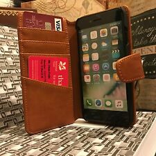 iPhone 7 Genuine Real Italian Leather Tan Case High End Business Class  Folio