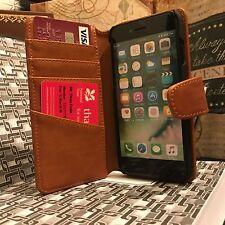 Apple iPhone 7 Vera Pelle Italiana Tan Real Custodia Folio High End Designer