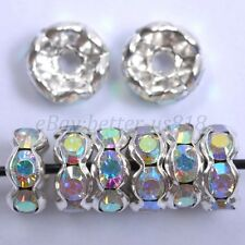 100pcs Quality Crystal Wavy Rhinestone Silver Plated Rondelle Charm Spacer Beads