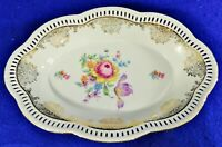 "LG Antique/Vtg 12"" Schumann Dresden Germany Floral Reticulated Serving Bowl Dish"