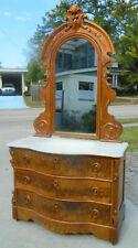 Walnut Victorian Marble Top Dresser with Secret Drawer