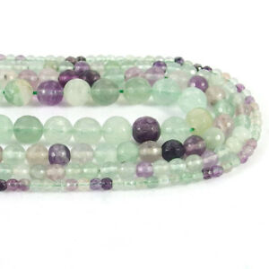 Natural Fluorite Stone Faceted Round Spacer Beads 15.5'' 4mm 6mm 8mm 10mm