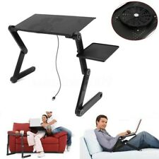 360°Adjustable Foldable Laptop Notebook Desk Table w/ Fan Cooler Stand Bed Tray