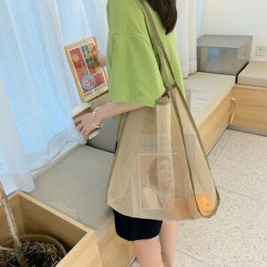 Shopping Bag Shoulder Tote Shopper Bags Reusable Transparent Mesh Plain