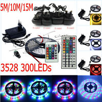5M/10M/15M 3528 RGB White SMD Flexible Light LED Strip 12VPower Supply Remote IR