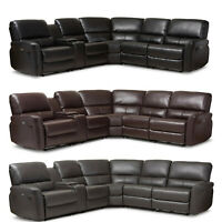 Black Brown Gray Leather* Power Reclining Theater Sectional Sofa Usb Ports Cups