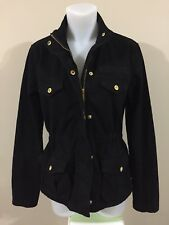 guess est 1981 womens jacket xs xsmall black w/ gold adjustable waist band