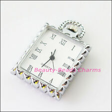 1 New Charms Tibetan Silver Square Pocket Watch Face Connectors 26x29mm