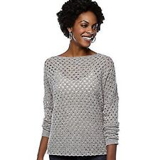 NWT CHELSEA & THEODORE Cashmere Sweater Open Stitch  Pullover Boatneck Gray M