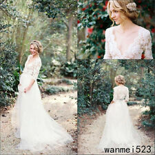 3/4 Sleeve Bohemian Country Beach Wedding Dresses Pregnant Maternity Bridal Gown