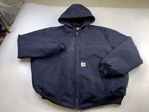 Carhartt J131 Dark Navy Thermal Lined Hooded Canvas Work Jacket Coat USA 2XL
