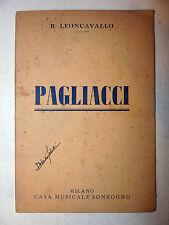 Libretto Opera Lirica Teatro - R. Leoncavallo: Pagliacci - Sonzogno Milano