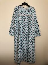 CW CLASSICS Floral Blue Long Sleeve 100% Cotton Flannel Night Gown  Size M New