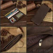 Men's Cowhide Bull Genuine Leather Large Capacity Money ID Card Holder Wallet