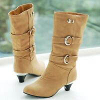 Womens PU Leather Low Kitten Heels Mid-calf Boots Belt Buckle Shoes Knight Boots
