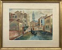 Kanal in Venedig Expressiv 1930 Eilif Due Hansen Italien 42 x 52 cm Stadtansicht
