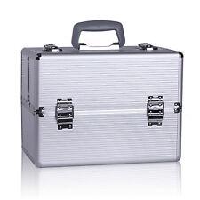 Silver Pro Aluminum Makeup Train Case Jewelry Box Cosmetic Organizer Storage AC2