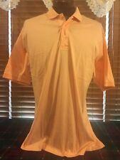 Men's Vguc Jonston & Murphy Large Orange White Ss 3 Button Golfing Polo Shirt