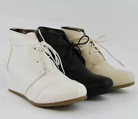Womens Wedge Ankle Bootie Oxford Style Wedge Heel Fashion Lace Up Designer Boots