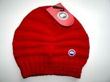 Genuine CANADA GOOSE Ladies MERINO WOOL Slouchy Red BEANIE HAT Toque NEW TAGS