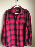 Timberland Med Mens Red Black Plaid wool blend button down shirt good condition
