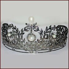 ANTIQUE ROSE CUT DIAMOND 12.88ct PEARL STERLING SILVER VINTAGE REPRO TIARA CROWN