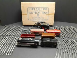 Vintage Marx Train Set Lot 3987 Steam Locomotive Engine & Cars w/ Box O Scale