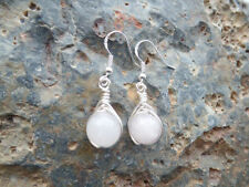 Natural Rose Quartz Silver Plated Costume Earrings