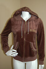 BCBG Maxazria Brown Zip Front Studded Hooded Jacket Hoodie~Size L JNR?