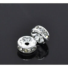8mm x 100 Crystal clear Silver Rhinestone Roundel Rondelle Spacer Bead grade A