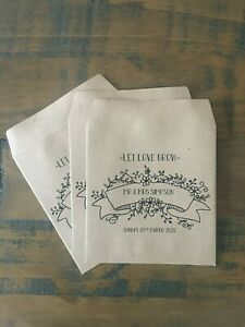 x10 Personalised Wedding Favour, gift, thank you seed envelopes, let love grow