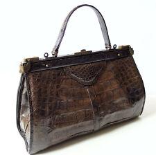 Vintage Damen Handtasche Rindsleder im Kroko Print braun Hebamme