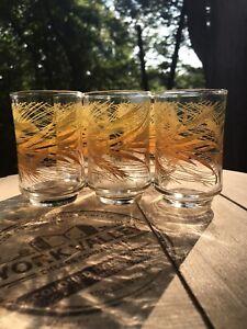Set of 5 Vintage Libbey Golden Wheat Pattern Tumbler 6 Oz Juice Glasses