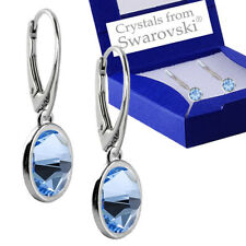 925 Sterling Silver Leverback Earrings Xirius LIGHT SAPPHIRE Swarovski® Crystals