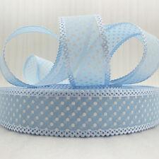 "x2m Baby Blue Spotty Dotty Polka Dot Ribbon - 25mm, 1"" -craft, DIY, hair, bow"