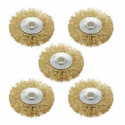 2-Inch Wire Wheel Brush Bench Brass Plated Crimped Steel 1/4-Inch Arbor 5 Pcs