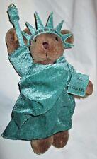 "Statue of Liberty Teddy Bear Plush 1997"" Jointed 9.5"" tall Stuffed Animal"
