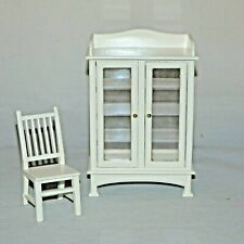 Dollhouse Miniature Furniture Cabinet Chair Town Square 1:12 White
