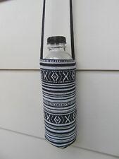 Fairtrade cotton water drink bottle shoulder sling carry bag sports - black