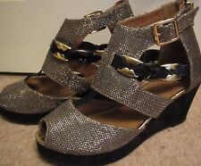 Open Toe Black Wedge RIVER ISLAND Sparkly Gold Party Holiday Sandals UK 4 EU 37